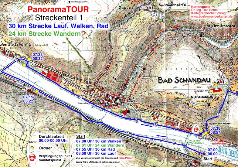 Karteteil 1 der 30 km Strecke bei der Panoramatour für Läufer, Walker, Wanderer und Radler