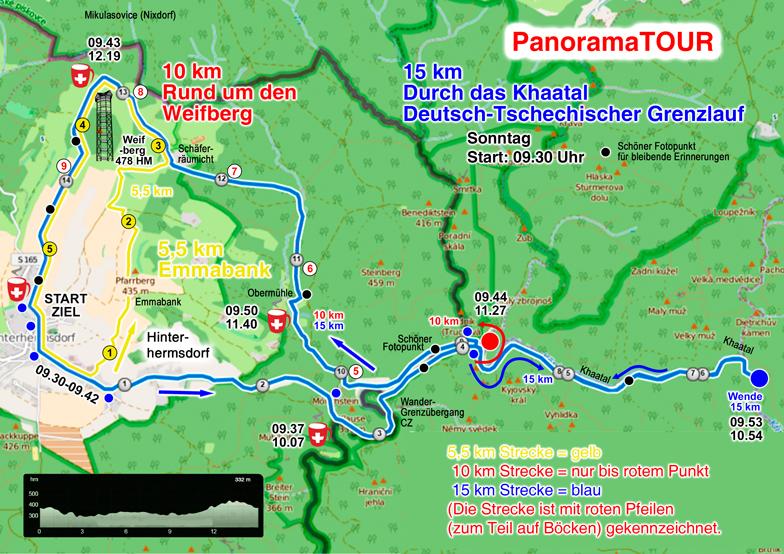 Die 10 km Lauf-, Wander- und Walkingstrecke bei der Panoramatour a Sonntag durch das Khaatal