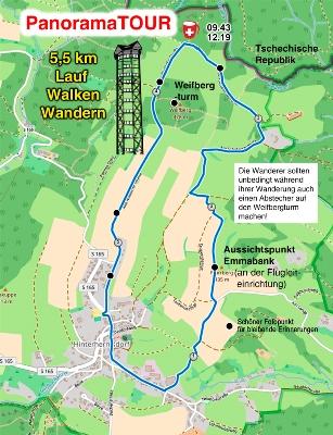Die 5,5 km Strecke bei der Panoramatour