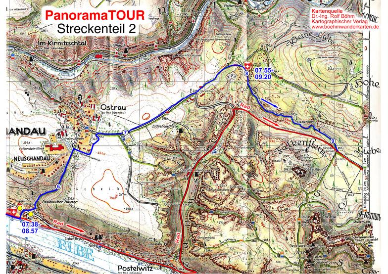 Karteteil 2 der 30 km Strecke bei der Panoramatour für Läufer, Walker, Wanderer und Radler