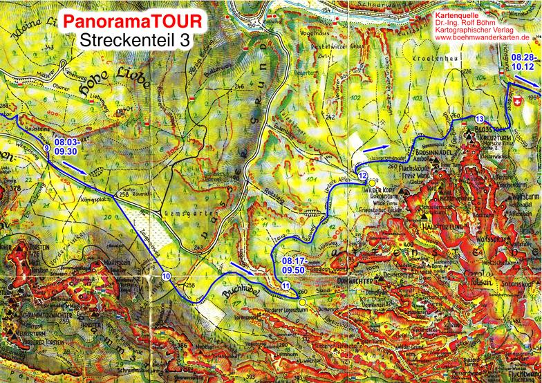 Karteteil 3 der 30 km Strecke bei der Panoramatour für Läufer, Walker, Wanderer und Radler