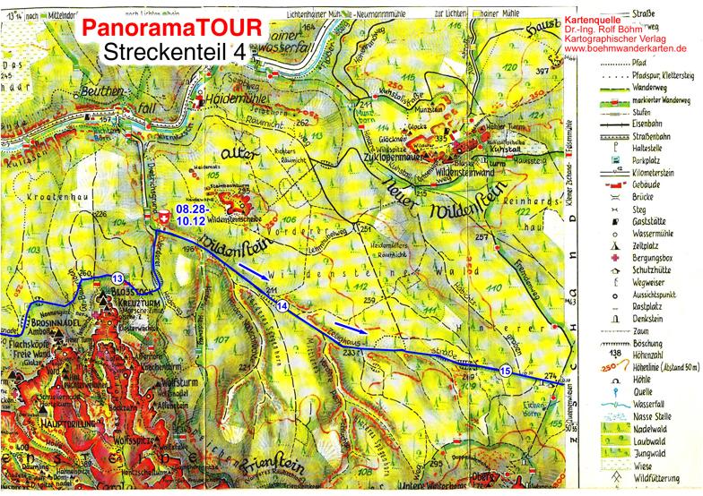 Karteteil 4 der 30 km Strecke bei der Panoramatour für Läufer, Walker, Wanderer und Radler