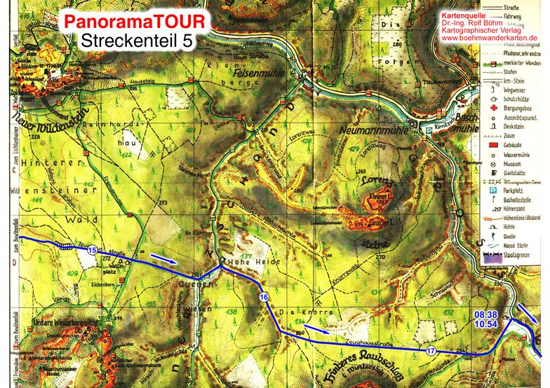 Karteteil 5 der 30 km Strecke bei der Panoramatour für Läufer, Walker, Wanderer und Radler