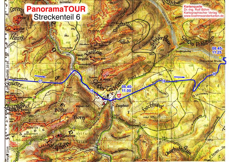 Karteteil 6 der 30 km Strecke bei der Panoramatour für Läufer, Walker, Wanderer und Radler