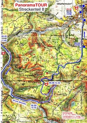 Karteteil 8 der 30 km Strecke bei der Panoramatour für Läufer, Walker, Wanderer und Radler