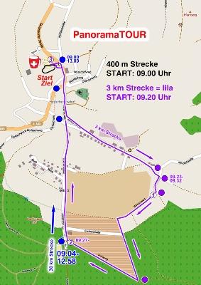 Die 3 km Laufstrecke bei der Panoramatour